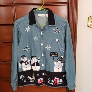 Christmas long sleeve denim shirt